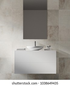 White tiled bathroom interior with a sink on a white vanity unit and a narrow vertical mirror. 3d rendering mock up