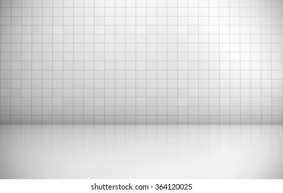 White tiles wall background rendering.