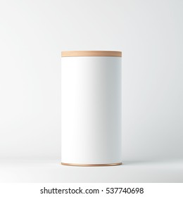 White Tin Can Mockup with wooden cover, lid. Cylindrical packaging, Tea, coffee. 3d rendering