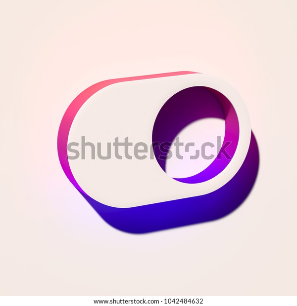 White Toggle on Icon. 3D Illustration of White Control, Enable, on Off, Switch, Toggle Icons With Pink and Blue Gradient Shadows.
