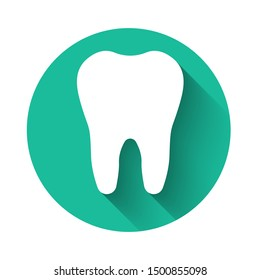 White Tooth icon isolated with long shadow. Tooth symbol for dentistry clinic or dentist medical center and toothpaste package. Green circle button
