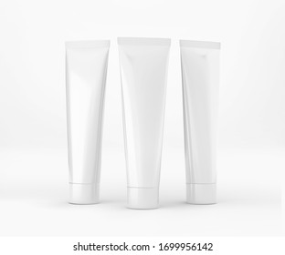 White Toothpaste Tube, Blank Container 3D Rendering isolated on light background