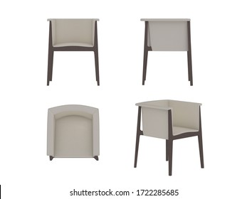 White top view armchair 3d illustration, furniture object sign for design plan renderings