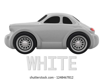 White toy car and an inscription with the name of the color. Isolated on white background. 3D render