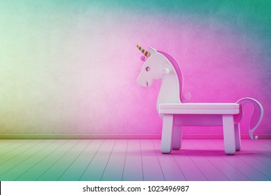 White toy unicorn on wooden floor of kids room with empty rainbow concrete wall background in startup business success concept- Home interior 3d illustration
