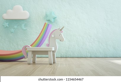 White toy unicorn on wooden floor of kids room with empty rough blue concrete texture wall background. Modern design interior 3d illustration.