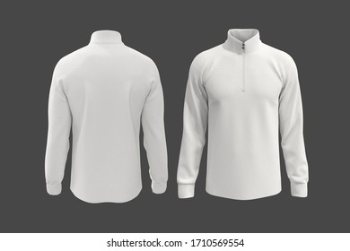 White tracksuit top, jacket design, sportswear, track front and back view, 3d illustration, 3d rendering