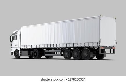 White Trailer Truck Back view. 3D rendering