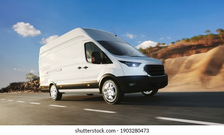 White transporter van of a haulage company drives delivery on the road (3d rendering)
