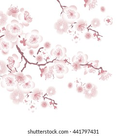 фотообои white tree blossom design element. illustration of apple tree blooming