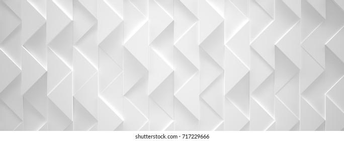 White Triangle Futuristic Installation (3d illustration)
