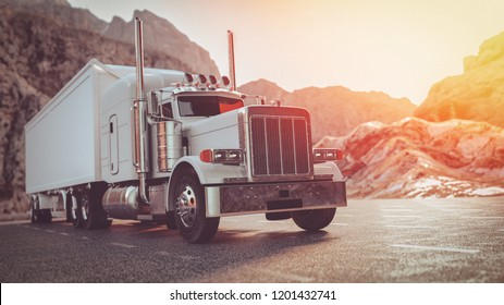 A white truck running on the street in the morning. 3d render and illustration.