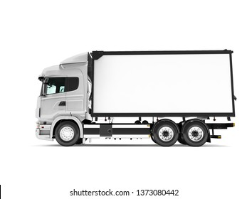 White truck with trailer isolated side view 3d render on white background with shadow