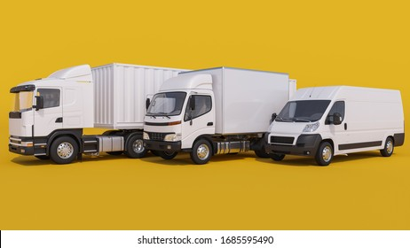 White Trucks and a Delivery Van on Yellow Background 3D Rendering