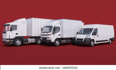 White Trucks and Delivery Van on Red Background 3D Rendering