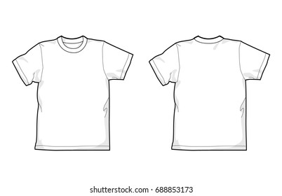 White T-shirt - back and front, round-neck