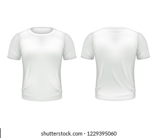White T-shirt Front Back Template Realistic Isolated  illustration