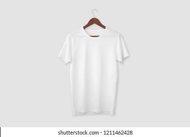 White T-shirt on hanger. 3D rendering