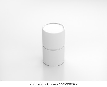 White Tube Tin can Mockup, cylindrical Packaging in white studio, 3d rendering