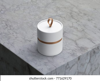 White Tube Tin can Mockup, cylindrical Gift Box Package with loop, 3d rendering