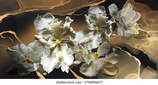 White tulips, painted flowers macro. A beautiful background for wallpaper, photo wallpaper, postcards, paintings.