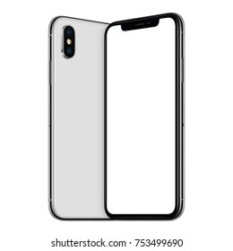 White turned smartphones mockup. New frameless smartphones mockup with blank white screen and back side facing each other. Isolated on white background.