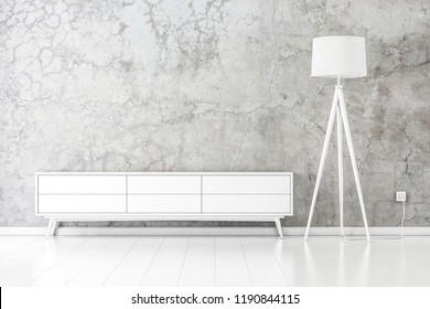 White tv console mockup with modern floor lamp in empty room, 3d rendering