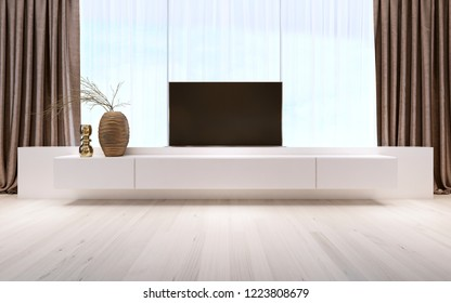 White TV unit with pull-out TV. 3D rendering