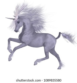 White Unicorn Prancing 3D illustration - A Unicorn is a mythical creature that has a white coat, cloven hooves, goat beard and forehead horn.