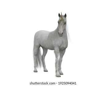 White unicorn standing facing the camera. Fairytale creature 3d illustration isolated on white background.