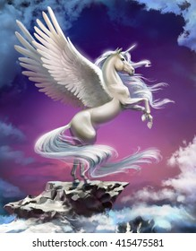 white unicorn with wings against a purple sunset in the clouds