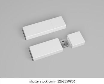 White USB Flash Drive. 3D rendering