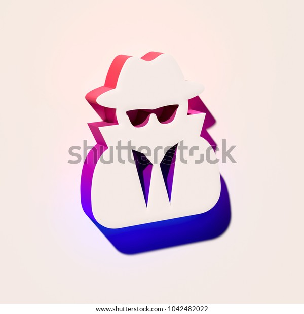 White User Secret Icon. 3D Illustration of White Client, Customer, Non Identified, People, Unidentified Icons With Pink and Blue Gradient Shadows.