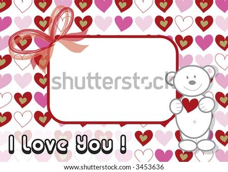 White Valentine Teddy Pink Hearts Frame Stock Illustration 3453636 ...
