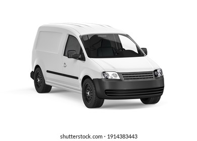 White Van on a white background - Front view - 3D render