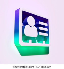 White Vcard Icon. 3D Illustration of White v Card, v Card, Vcard, Vcard File, Vcard File Icons With Blue and Green Shadows.
