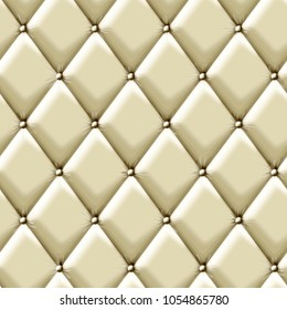 White velvet capitone textile background, retro Chesterfield style checkered soft tufted fabric furniture diamond pattern decoration with buttons, close up
