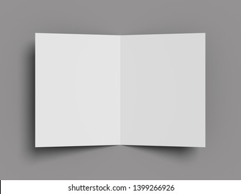 White vertical booklet mockap brochure magazine A4 divided into two parts isolated on a grey background. 3D render.