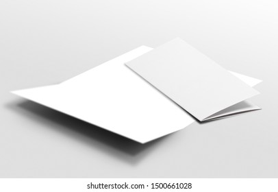 White vertical booklet mockap brochure magazine A4 divided into two parts isolated. 3D render