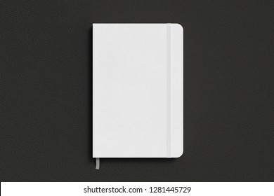 White vertical notebook with elastic band on black background. 3d illustration