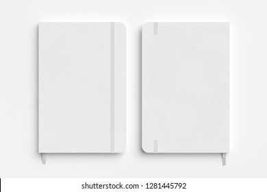White vertical notebook with elastic band on white background. Front and back cover. 3d illustration
