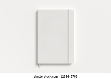 White vertical notebook with elastic band on white background. 3d illustration