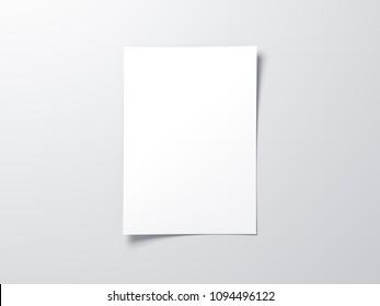 White vertical paper sheet Mockup, letter or invitation, 3d rendering