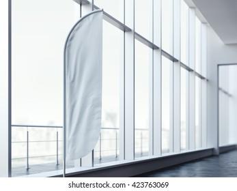 White vertical wind banner in office interior. 3d rendering