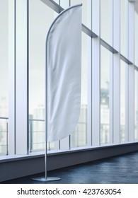 White vertical wind banner on black floor. 3d rendering