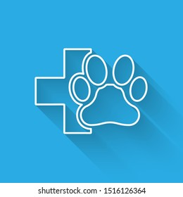 White Veterinary clinic symbol line icon isolated with long shadow. Cross hospital sign. A stylized paw print dog or cat. Pet First Aid sign