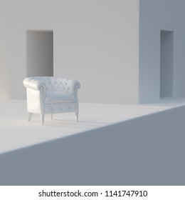 White vintage leather armchair in white interior 3D render