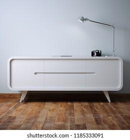 White vintage nightstand in white interior 3D render