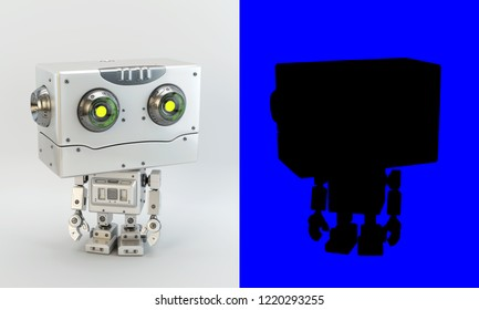 White vintage robotic toy with big square head / 3d rendering
