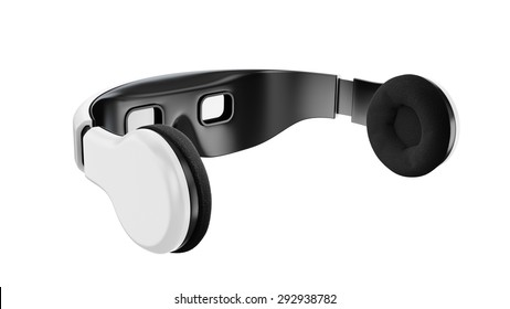 White virtual reality goggles with headphones, minimalistic modern design on white background.